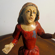 """NEAPOLITAN Painted  Wood  and Gesso Mae Dolorosa 12"""""""