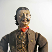 NEAPOLITAN Mustached Male Painted Terracotta And Wood CRECHE Figure 16""