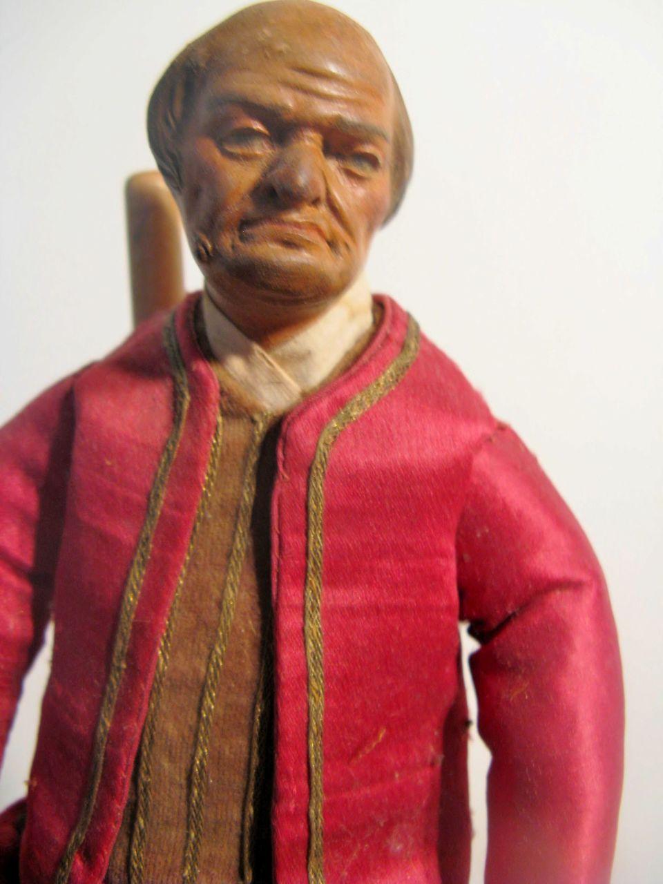NEAPOLITAN Balded Man Painted Terracotta And Wood CRECHE Figure