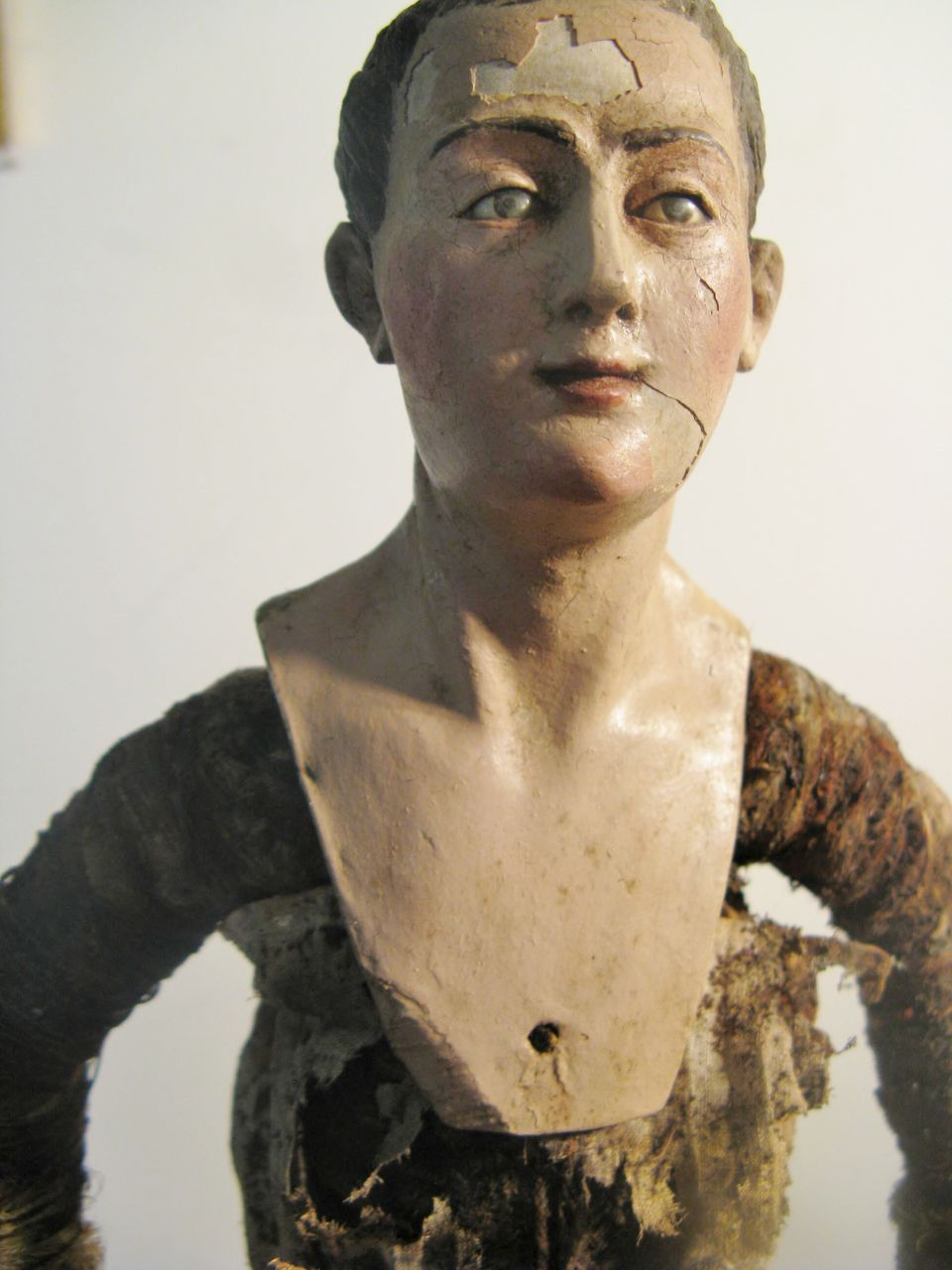 NEAPOLITAN Male Painted Terracotta and Wood CRECHE Figure