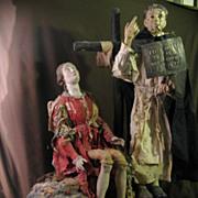 NEAPOLITAN Santo Scene Terracotta And Wood CRECHE Figures