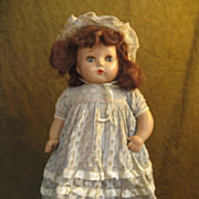 "Horsman Composition Doll 20""- Brown Mohair -Original Dress, Bonnet"