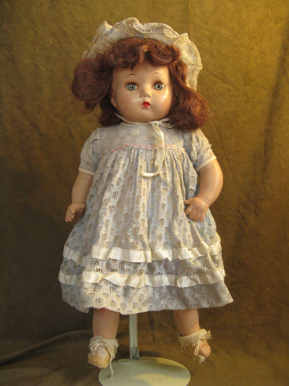 "Horsman Composition Doll 20""- Brown Mohair -Original Dress, Bonnet"