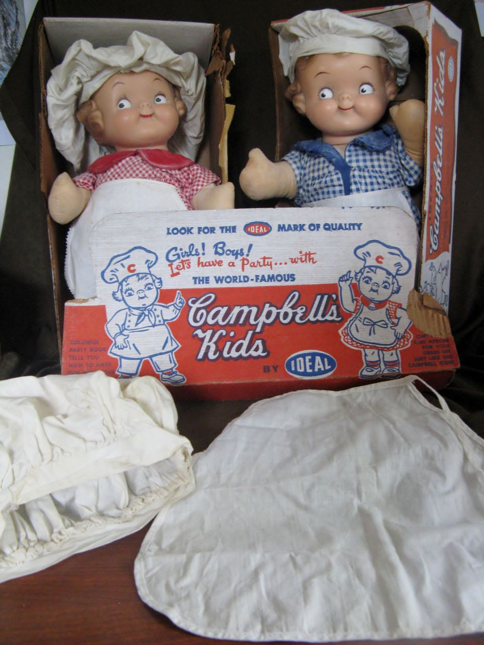 "Pair of Very Rare Vintage 16"" IDEAL Campbell's Kids"