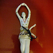 Early 20c Art Deco Ballerina Half Doll with Legs