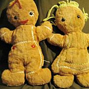 """2 Vintage Knickerbocker Gingerbread Dolls 13"""""""