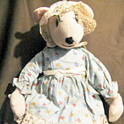 "Vintage Cloth Stockinette Mouse Doll 14"""