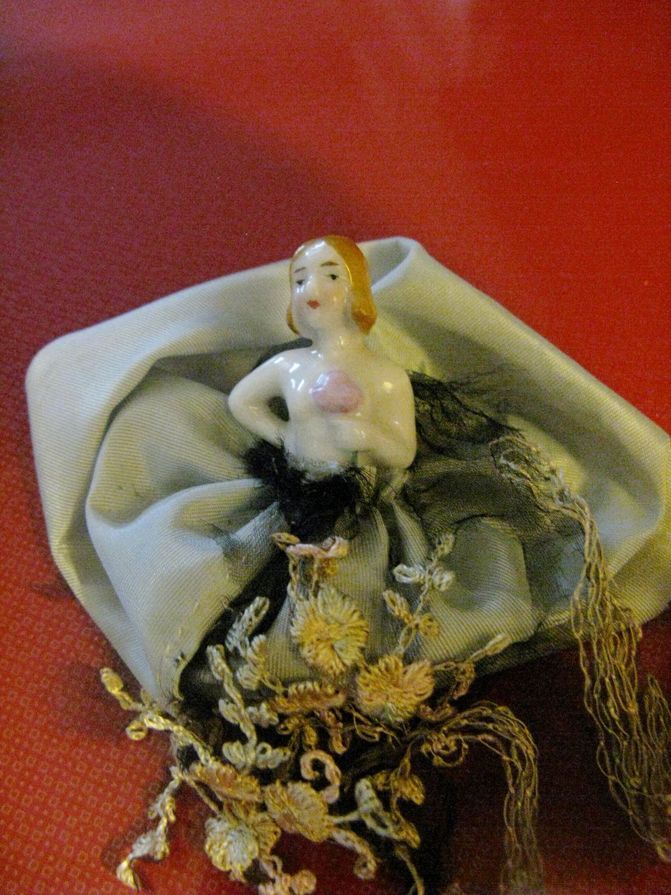 "German Miniature ""Bride"" Pincushion/Half Doll with Dress"