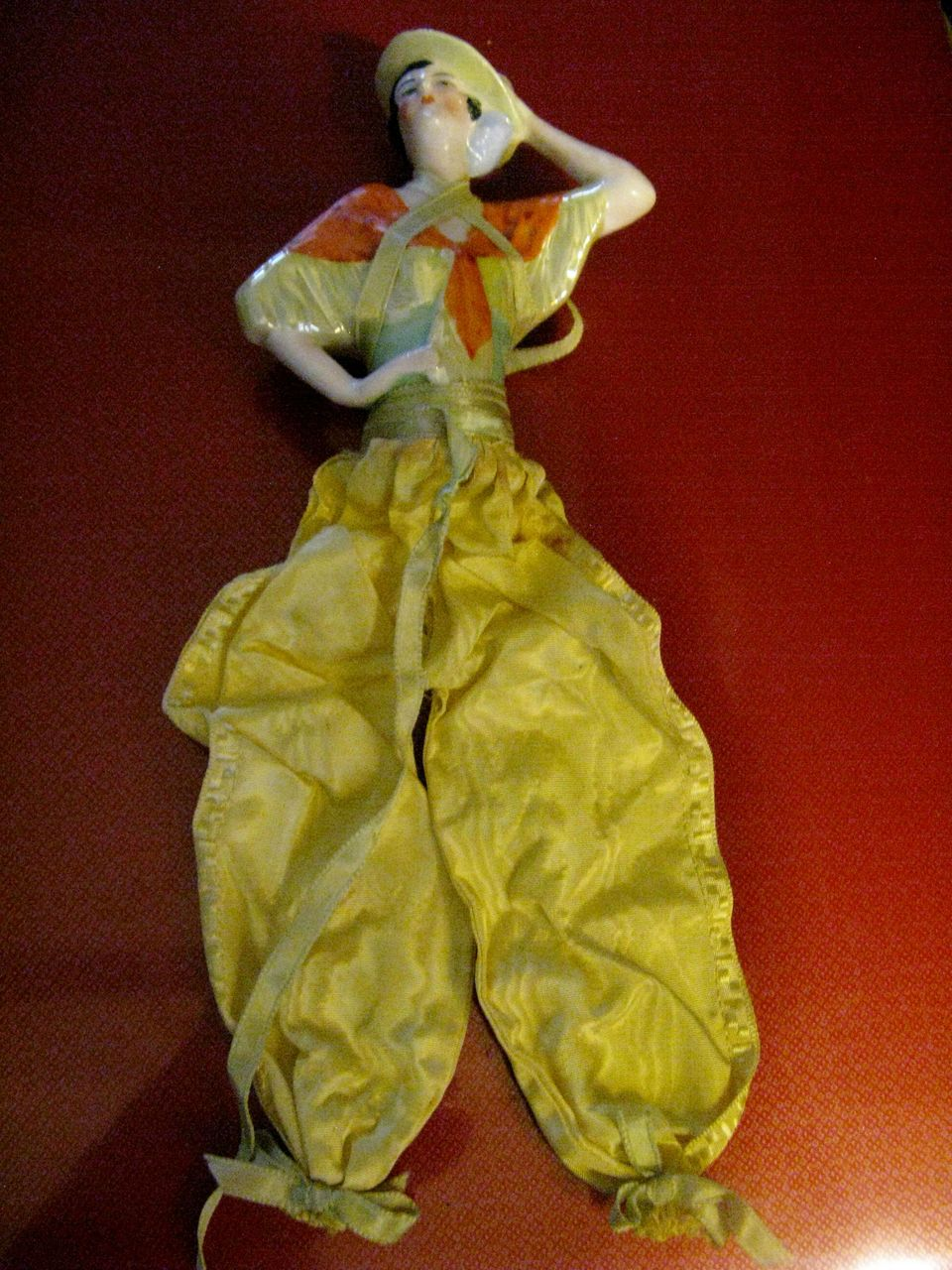 Spanish Art Deco Half Doll With Yellow Silk Pants