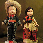 Pair of Mexican Composition 1940's-50's Doll 9""