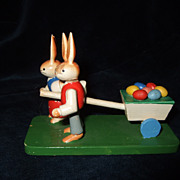 Vintage Miniature German Rabbits and Easter Egg Cart
