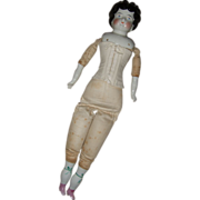 "Antique German China Head Doll 23"""