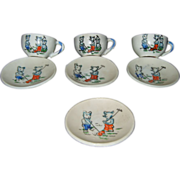 Vintage Japanese Doll Dishes with Bear Motif