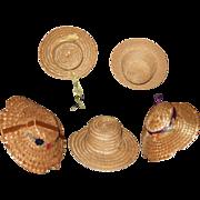 Five Vintage wicker Hats