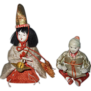 Pair of Antique Small Oriental Dolls - Red Tag Sale Item