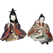 Pair of Small Antique Oriental Dolls - Red Tag Sale Item