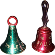 Vintage Painted Brass Christmas Bells - Red Tag Sale Item