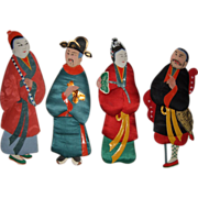 Four Vintage Japanese Paper-Fabric Dolls