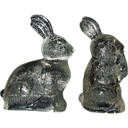 Two Vintage Glass Bunny Candy Containers - Red Tag Sale Item