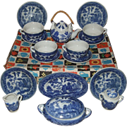Japanese Childs Willow Blue Dish Set