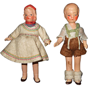 Pair Of German made Swiss Miniature Dollhouse Dolls - Red Tag Sale Item