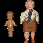 Pair of German Miniature Dollhouse Celluloid Dolls Kewpie and Boy