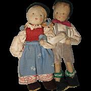 Cabinet Size Pair of Ethnic Cloth Dolls German or Switzerland