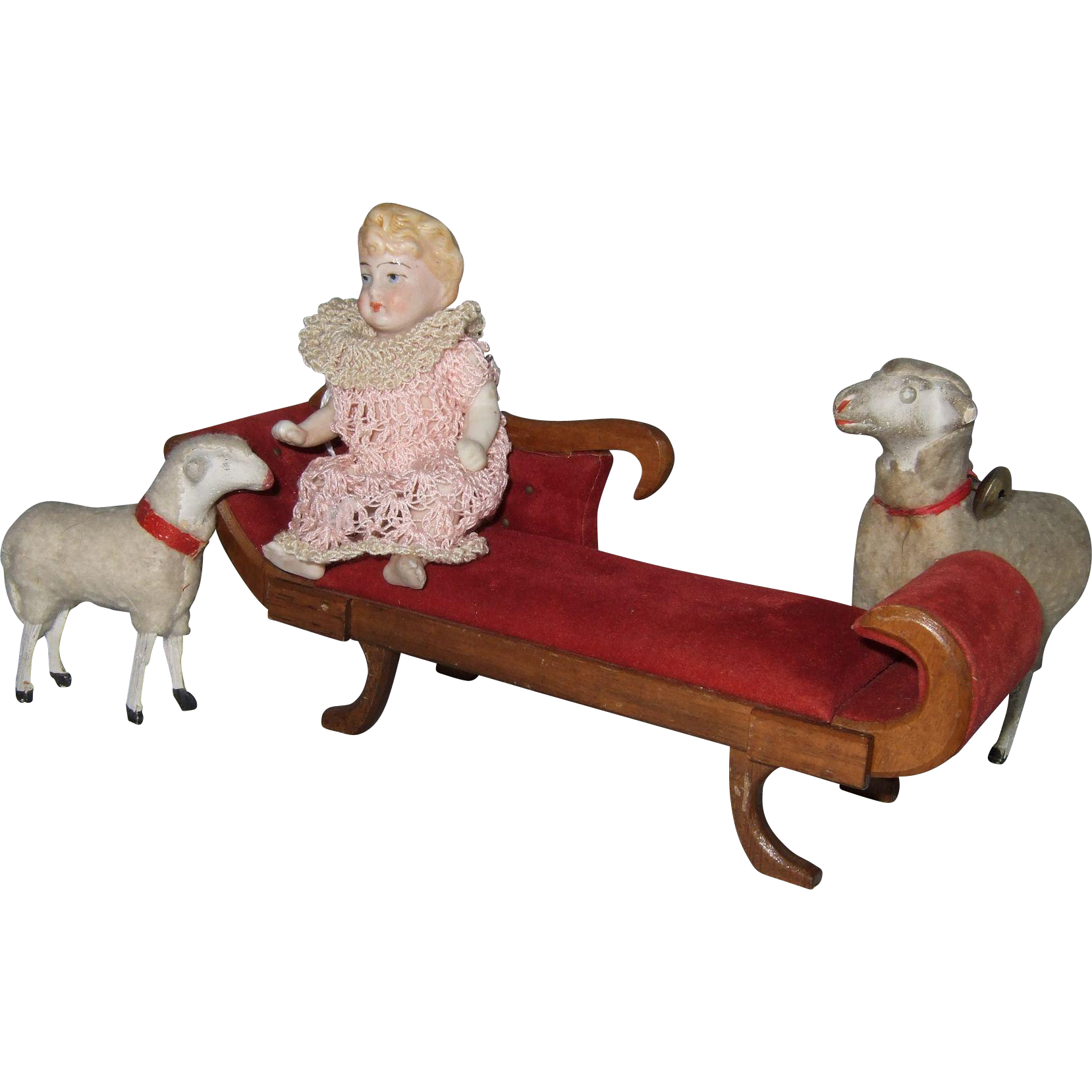 Vintage miniature chaise lounge from shirleydoll on ruby lane for Antique chaise longe