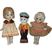 Three All Bisque Japanese Carnival Dolls