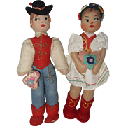 Small Pair of Cloth Hungarian Children