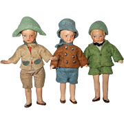 Three German Painted Bisque Miniature Dollhouse Boys
