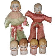 Six Japanese Half Dolls