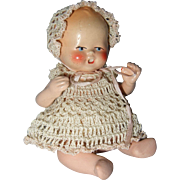 German, Painted Bisque, Miniature, Dollhouse, Baby
