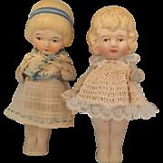 Pair of Nippon, Miniature, Bisque Dolls