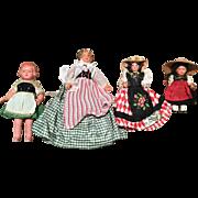 4 Vintage Celluloid Dolls