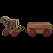 German, Miniature, Wood Horse and Wagon