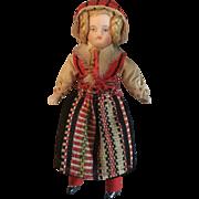 Miniature, German, Ethnic Doll on Cloth Body