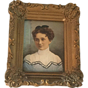 Small, Late Victorian, Hand Painted Portrait