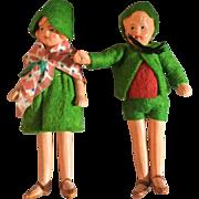 German, Painted Bisque, Dollhouse Dolls