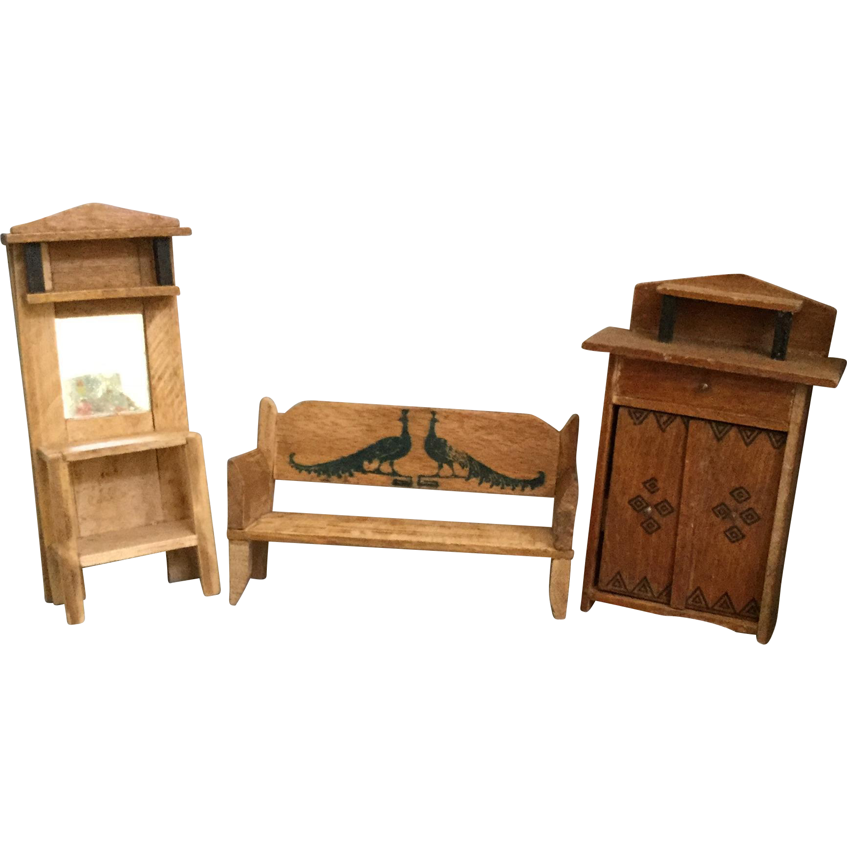 German wood dollhouse furniture from shirleydoll on ruby lane Dollhouse wooden furniture