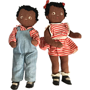 Pair of Hand Made, Black Children
