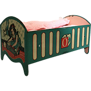 Sun Rubber Lithograph Metal Doll Bed/ Cradle