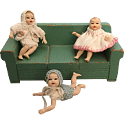Three Miniature, Dollhouse Babies