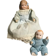 Bisque, Miniature, Dollhouse Mom and Baby