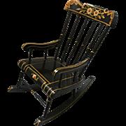 Pennsylvania Dutch, Black Lacquer Chair
