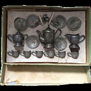 Doll, Pot Metal Tea Set in Original Box