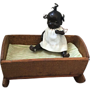 Miniature, Composition, Black Baby in a Cradle
