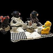 Japanese Black Dolls and Bear