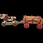 German, wood Horse and Wagon
