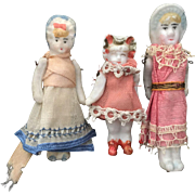 Three, Miniature, Dollhouse Bonnet Head Dolls